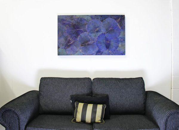 100 x 60 Lotus Leaf Art Moody Blue