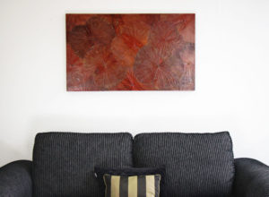 100 x 60 Lotus Leaf Art Rustic Red
