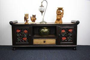 120 x 53 cm Rattan Entertainment Unit With Colour On Carving