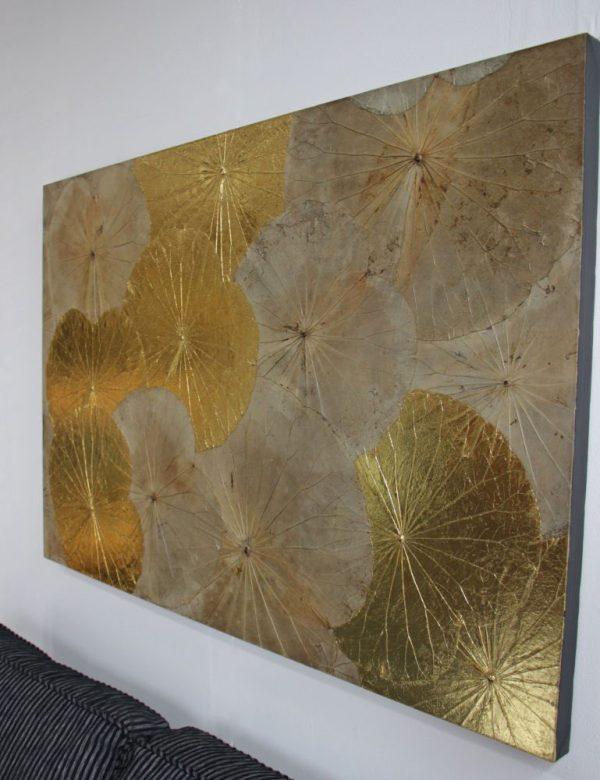 120 x 80 Lotus Leaf Art Golden Glow
