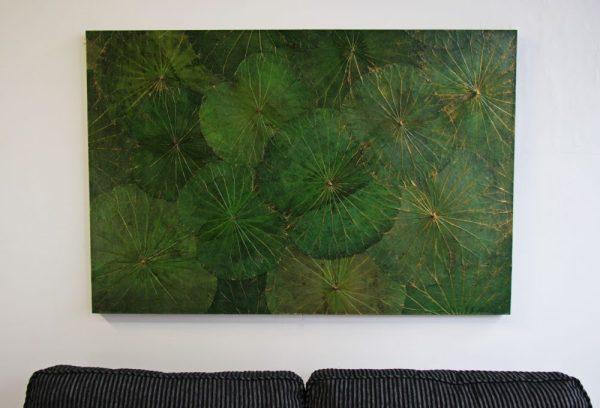 120 x 80 Lotus Leaf Art Green Forest