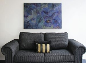 120 x 80 Lotus Leaf Art Moody Blue