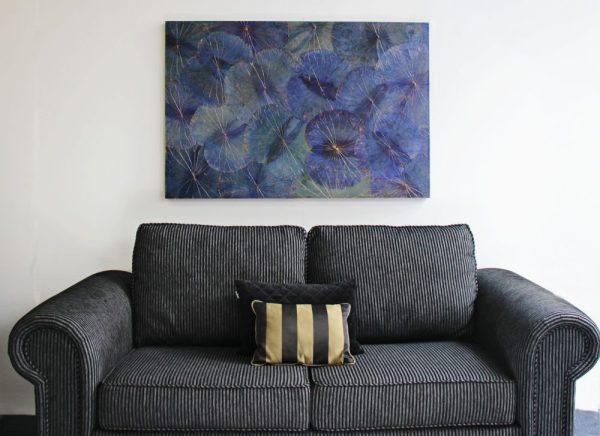 120 x 80 Lotus Leaf Art Moody Blue