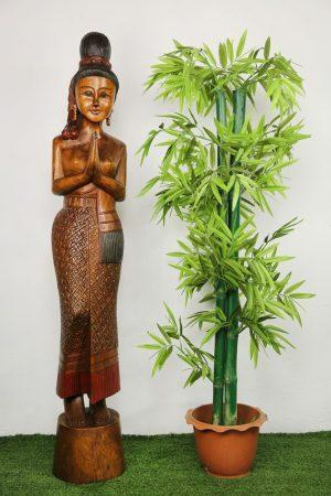 130cm Carved Wooden Sawasdee Lady