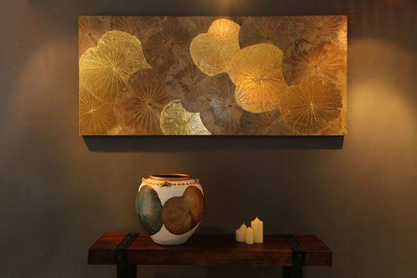 180 x 80 Lotus Leaf Art Golden Glow