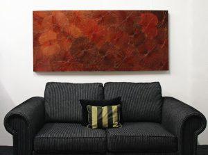 180 x 80 Lotus Leaf Art Rustic Red