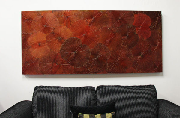180 x 80 Lotus Leaf Art Rustic Red