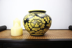 20cm Hand Painted Pottery Black With A Gold Flower And Leaf Design