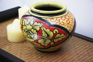 20cm Hand Painted Pottery Red With A Gold Flower And Leaf Design