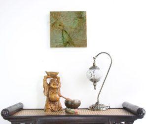 30 x 30 Lotus Leaf Art Teal