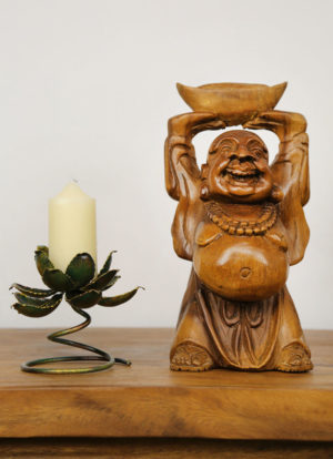 30cm Carved Wooden Happy Monk