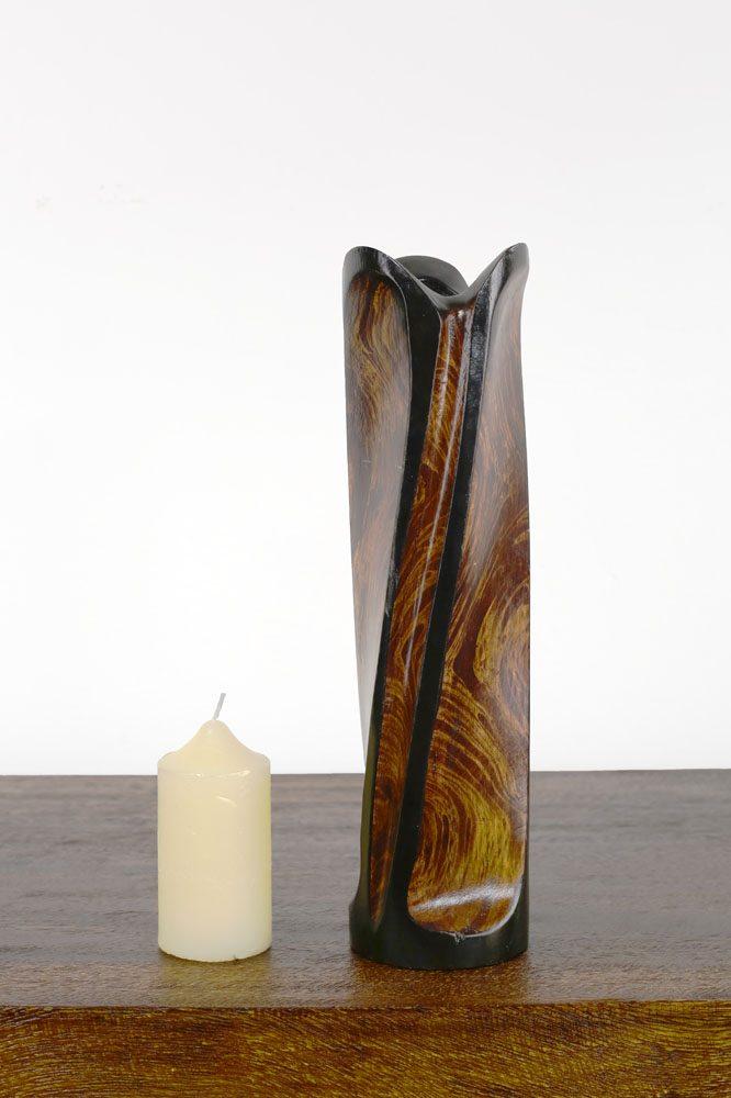 30cm Mangowood Vase Circled Tulip Shape