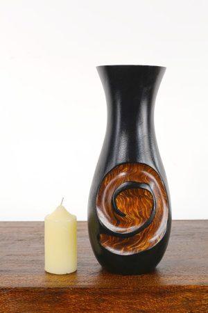 30cm Mangowood Vase Koru