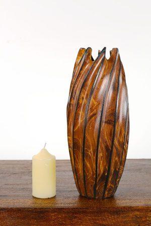 30cm Mangowood Vase Lotus Pod