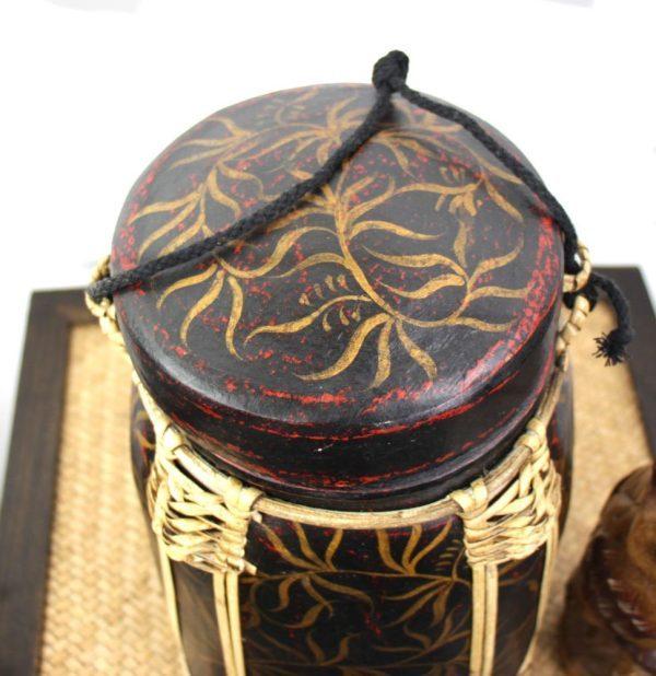 30cm Rice Basket Black & Red Antique with Gold Leaf