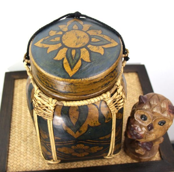 30cm Rice Basket Blue With Gold flower