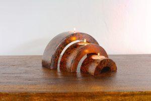 3 Tier Mangowood Tea Candle Set