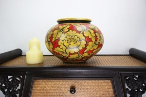 32cm Hand Painted Pottery Red With Gold Flower And Leaf Design