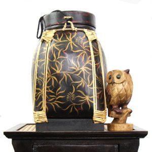 36cm Rice Basket Black & Red Antique with Gold Leaf
