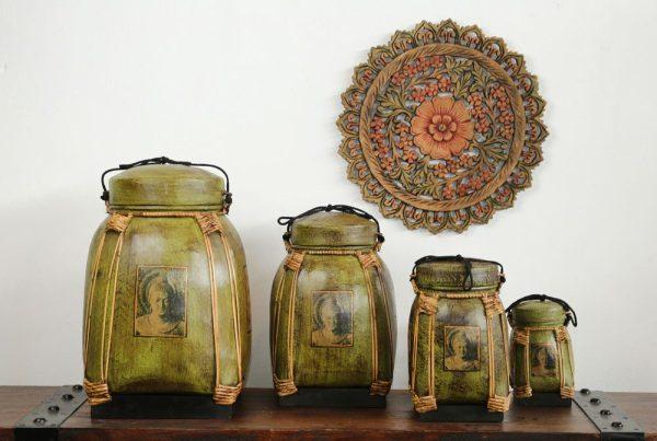 36cm Rice Basket Olive Green