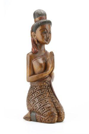 38cm Carved Wooden Sawasdee Lady Kneeling