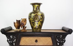 40cm Hand Painted Pottery Fluted Vase Gold With Antique Black Leaf And Flower Design