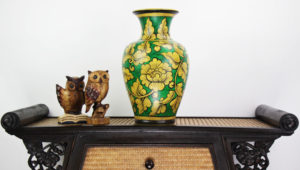 40cm Hand Painted Pottery Fluted Vase Green With Gold Flower And Leaf Design