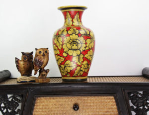 40cm Hand Painted Pottery Fluted Vase Red With Gold Flower And Leaf With Black Border Design
