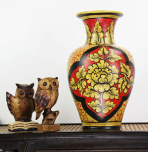 40cm Hand Painted Pottery Fluted Vase Red With Gold Leaf And Flower Design