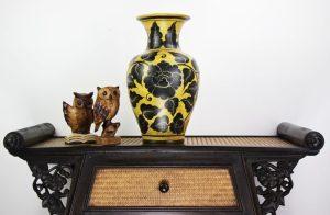 44cm Hand Painted Pottery Fluted Vase Gold With Black Leaf/Flower Design