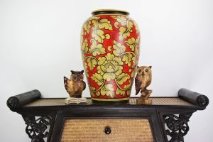 47cm Hand Painted Pottery Red With Gold Flower And Leaf Design