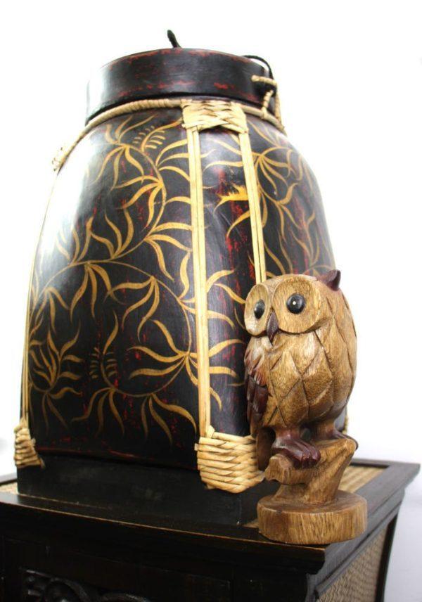 47cm Rice Basket Black & Red Antique with Gold Leaf