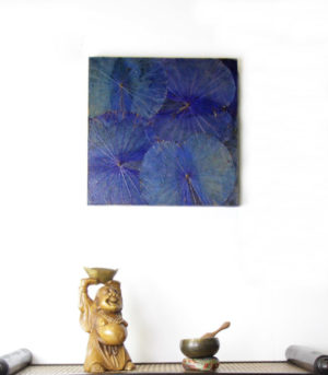 48 x 48 Lotus Leaf Art Moody Blue