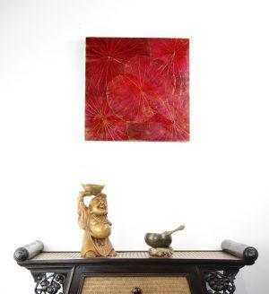 48 x 48 Lotus Leaf Art Rustic Red
