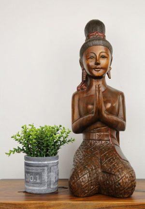 53cm Carved Wooden Sawasdee Lady Kneeling