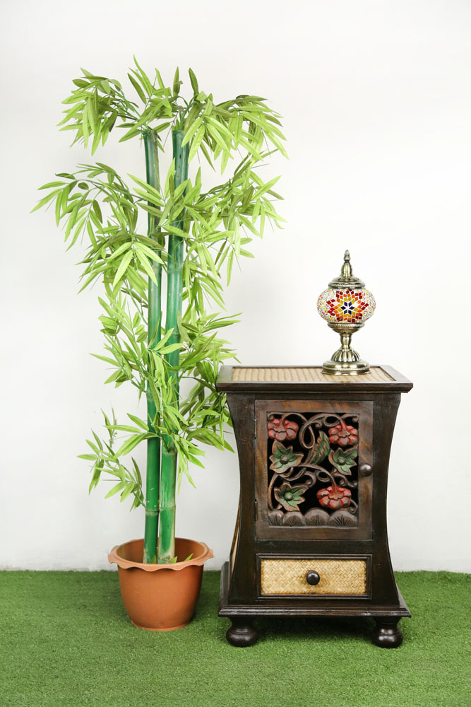 57 x 41 cm Rattan Bedside Table With Colour On Carving