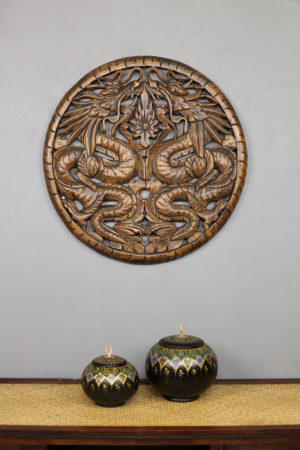 60cm Dragon Teak Wooden Carving
