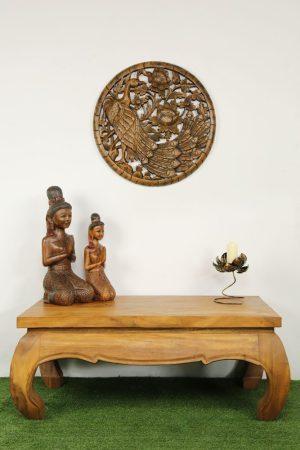 60cm Peacock Teak Wooden Carving Natural