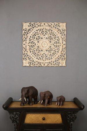 60cm x 60cm 3D Flower Teak Wooden Carving White Wash