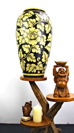 67cm Hand Painted Pottery Black With Gold Flower And Leaf Design