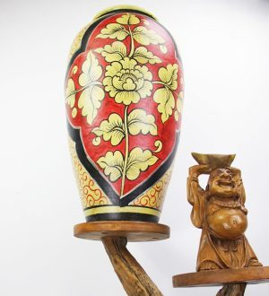 67cm Hand Painted Pottery Gold/Red with Gold Flower And Leaf Design