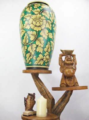 67cm Hand Painted Pottery Green With Gold Flower And Leaf Design