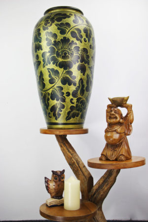 67cm Hand Painted Pottery Rich Gold With Antique Black Flower And Leaf Design