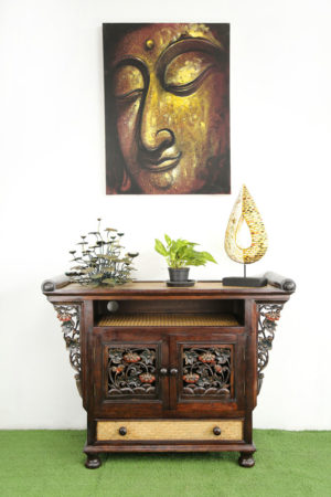 104 x 79 cm Rattan Hallway Unit With Carving Coloured