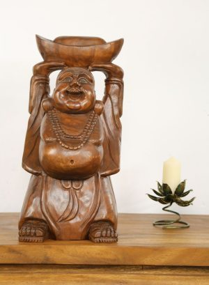 76cm Carved Wooden Happy Monk