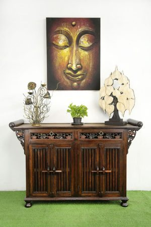130 x 84 cm Rattan Hallway Unit With Carving Coloured