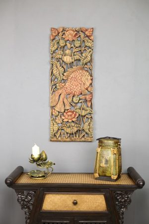 90 x 35 Fish Teak Wooden Carving Coloured