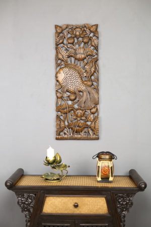 90 x 35 Fish Teak Wooden Carving Natural