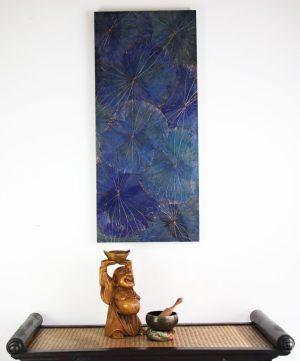 90 x 40 Lotus Leaf Art Moody Blue