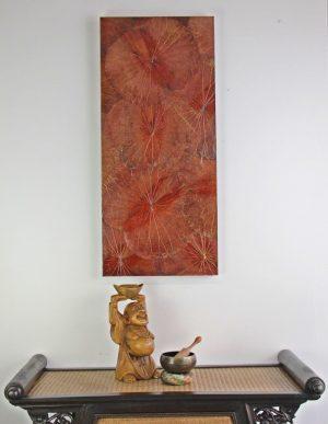 90 x 40 Lotus Leaf Art Rustic Red